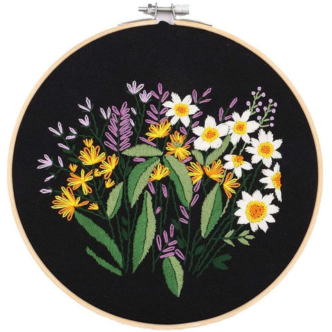 Embroidery Starter Kit with Pattern Flowers Black