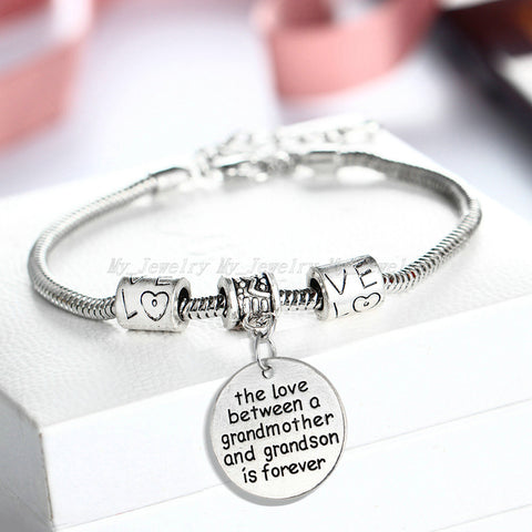 Love Between a Grandmother and Grandson is Forever Bracelet - Personalized Jewelry Gift - 10''