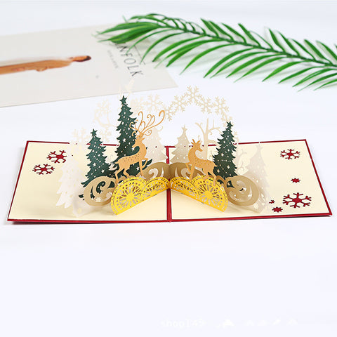 3D Christmas Pop Up Card and Envelope -  Christmas life