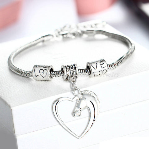Heart Pendant Bracelet Horse Heart Jewelry - Family and Friends Jewelry Gift - 10''