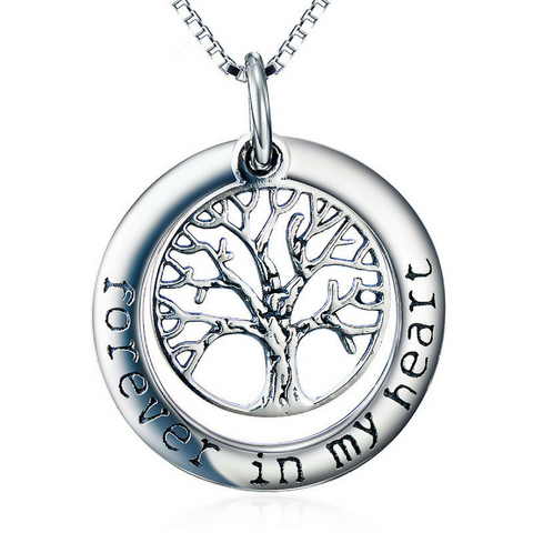 Tree of Life Pendant Necklace - Forever in My Heart - Memorial Jewelry - Locket Necklace for Women