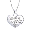 Image of Grandma Heart Pendant Necklace - Grandma a Blessing of Love and Gift from Above - Family Necklace
