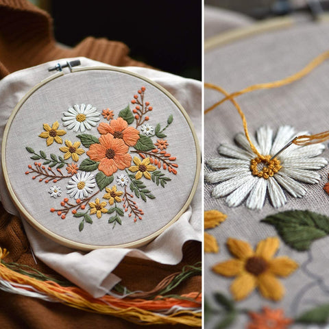 Embroidery Starter Kit with Pattern Flowers White Orange