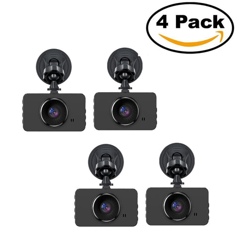 "Dash Cam PACK OF 4, 1080P Car DVR Dashboard Camera Full HD with 3"" LCD Screen 120°Wide Angle, WDR, G-Sensor, Loop Recording and Motion Detection"