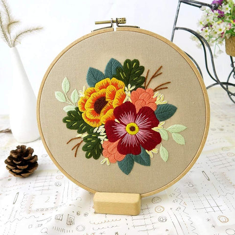 Embroidery Starter Kit with Pattern Flowers Orange Red