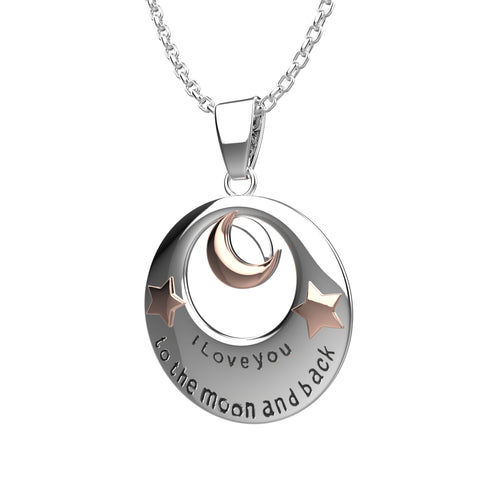 I Love You to The Moon and Back Pendant Necklace - Best Jewelry Gift - 19""
