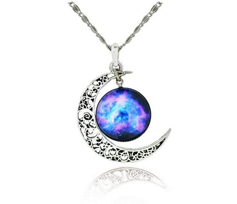 Galaxy & Crescent Cosmic Moon Pendant Necklace
