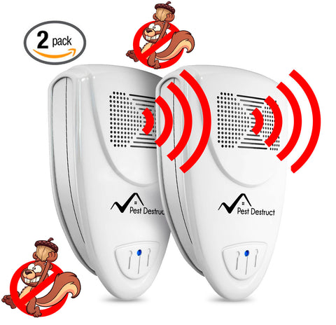 Ultrasonic Squirrel Repeller PACK of 2 - Get Rid Of Squirrels In 72 Hours Or It's FREE