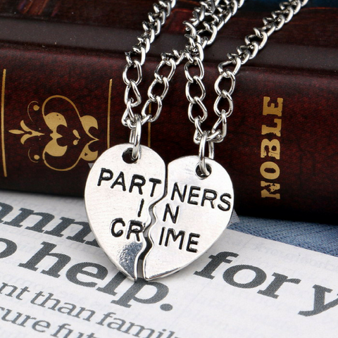 Partners in Crime Pendant Necklace - 2x20'' Chain + 2 Necklace Pendants