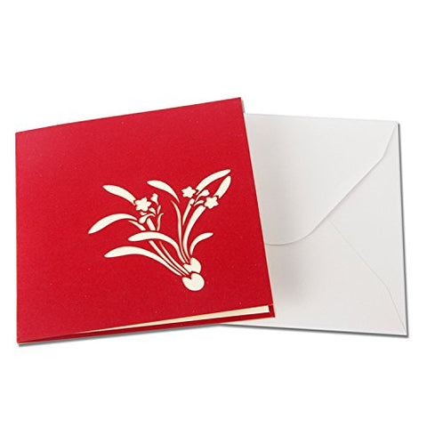 3D Floral Pop Up Card and Envelope - Valentine's Day Red Flower Bouquet Card