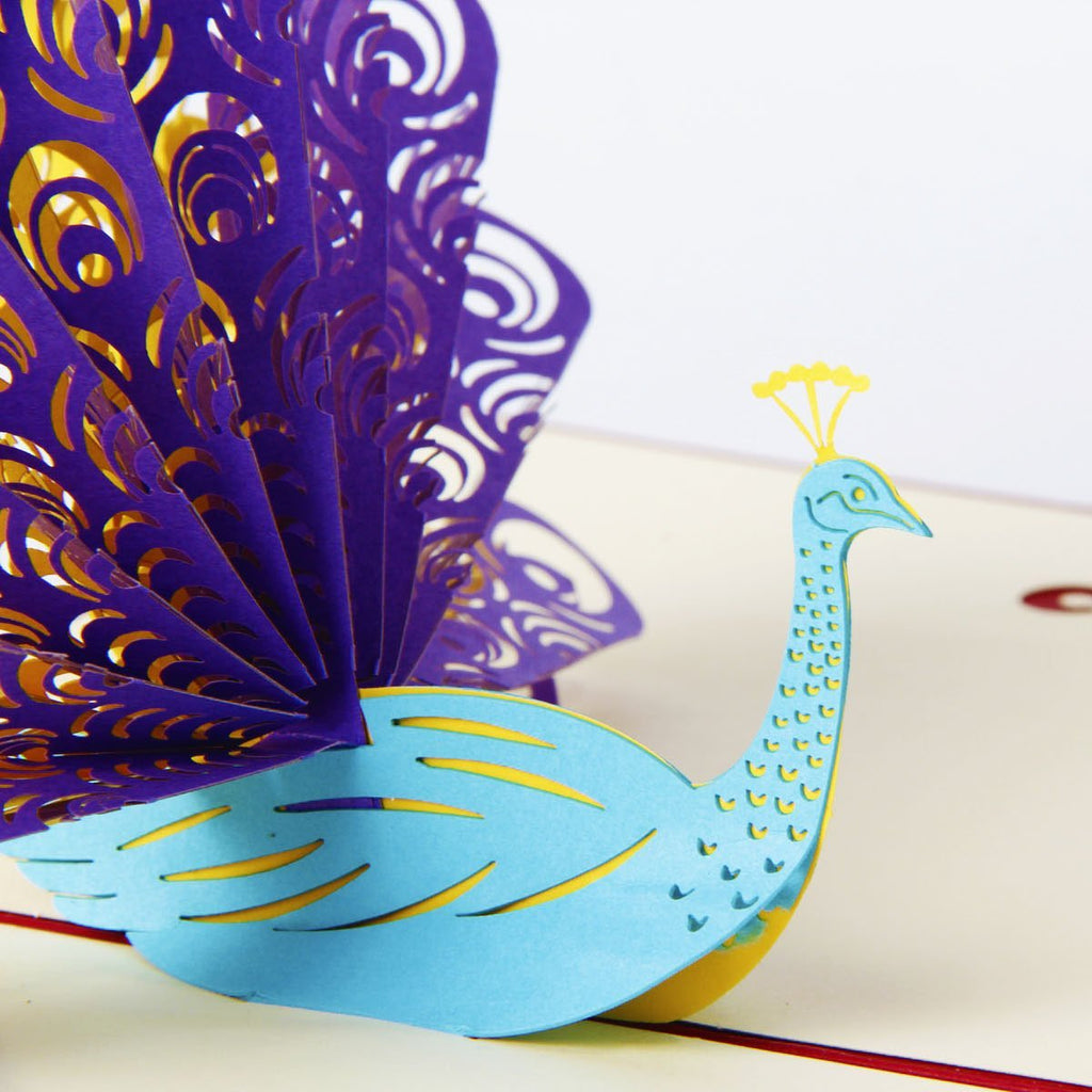 3d peacock pop up card and envelope purple blue peacock card dbzon