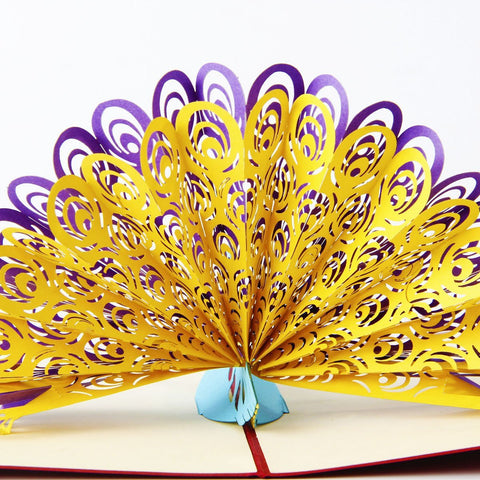 3D Peacock Pop Up Card and Envelope - Purple-Blue Peacock Card