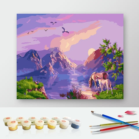 DIY Paint by Numbers Canvas Painting Kit for Kids & Adults - Perfect Nature