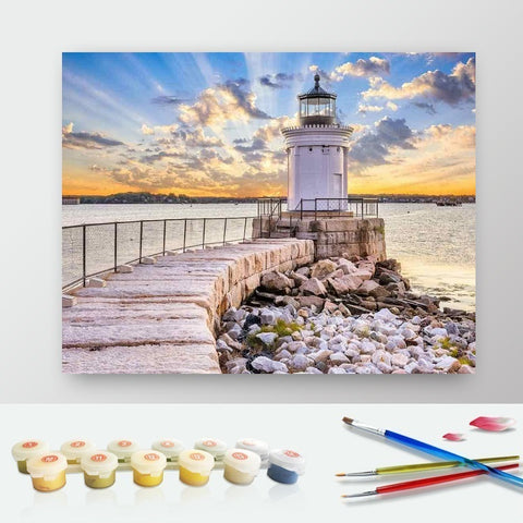 DIY Paint by Numbers Canvas Painting Kit for Kids & Adults - Lighthouse at Sunset