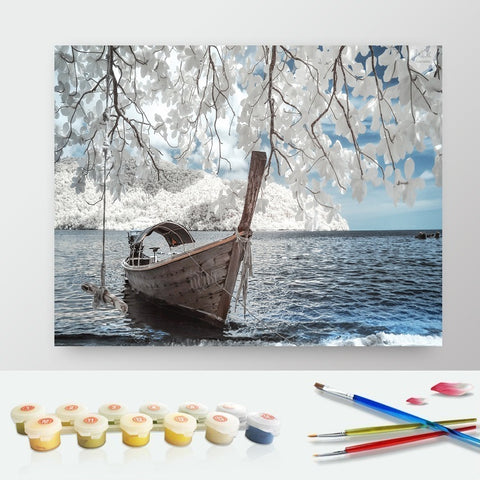 DIY Paint by Numbers Canvas Painting Kit for Kids & Adults - Fishing Boat on Deck