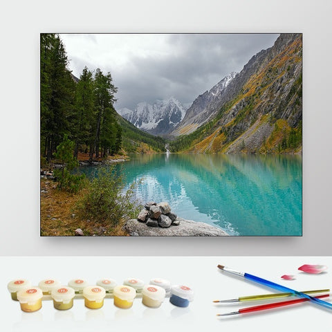 DIY Paint by Numbers Canvas Painting Kit for Kids & Adults - Mountain Lake