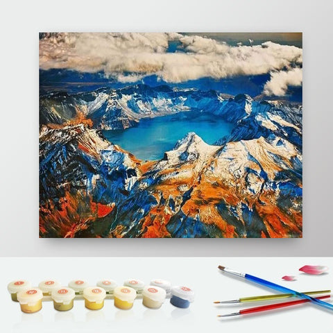 DIY Paint by Numbers Canvas Painting Kit for Kids & Adults - Mountains from The Sky