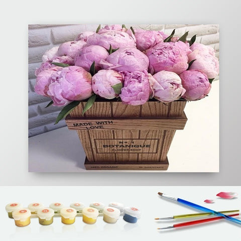 DIY Paint by Numbers Canvas Painting Kit for Kids & Adults - Box of Pink Roses