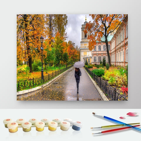 DIY Paint by Numbers Canvas Painting Kit for Kids & Adults - Rain Walk Under Umbrella