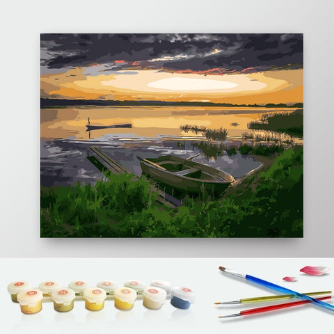 DIY Paint by Numbers Canvas Painting Kit for Kids & Adults - Fishing Boat at Sunset