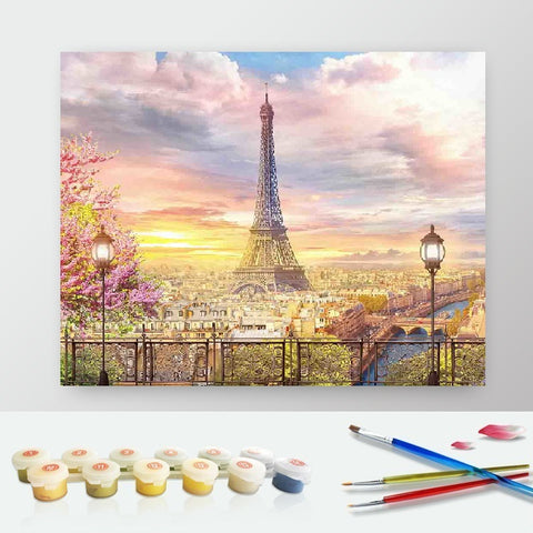 DIY Paint by Numbers Canvas Painting Kit - Sunrise in Paris