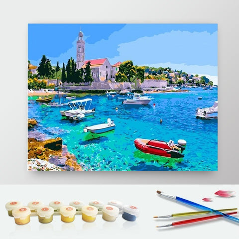 DIY Paint by Numbers Canvas Painting Kit for Kids & Adults - Boats on The Bay