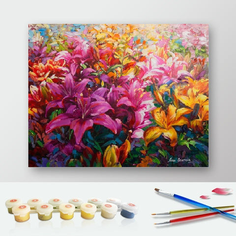 DIY Paint by Numbers Canvas Painting Kit for Kids & Adults - Colorful Flowers