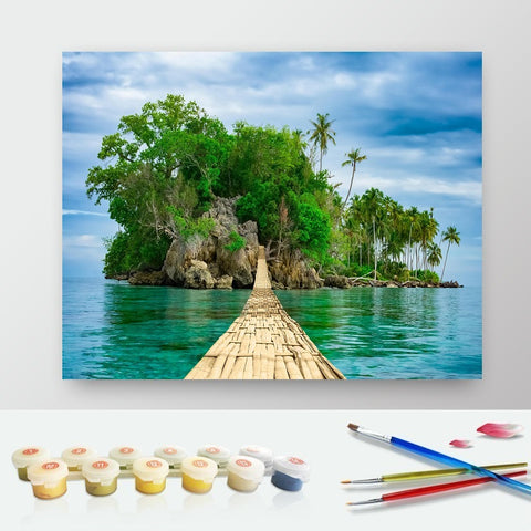 DIY Paint by Numbers Canvas Painting Kit for Kids & Adults - Ocean Island