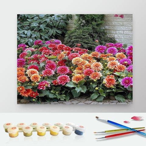 DIY Paint by Numbers Canvas Painting Kit for Kids & Adults - Dahlia Flowers