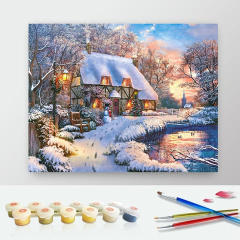 DIY Paint by Numbers Canvas Painting Kit for Kids & Adults - Winter House by The Lake