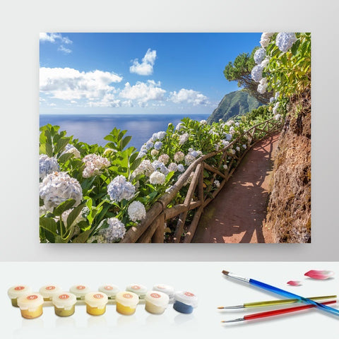 DIY Paint by Numbers Canvas Painting Kit for Kids & Adults - Flowers Walk by The Sea