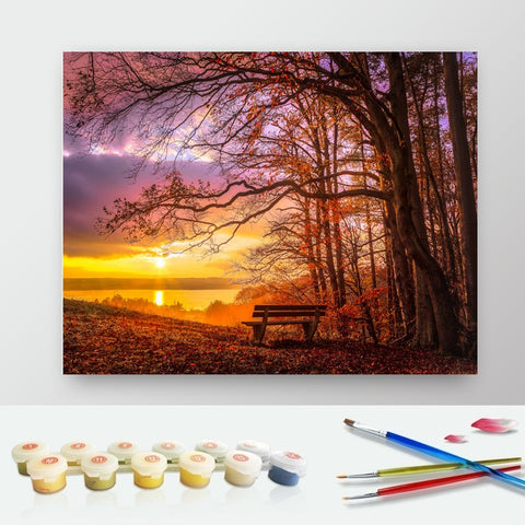 DIY Paint by Numbers Canvas Painting Kit for Kids & Adults - Lonely Bench Sunset