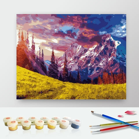 DIY Paint by Numbers Canvas Painting Kit for Kids & Adults - Sunny Mountain