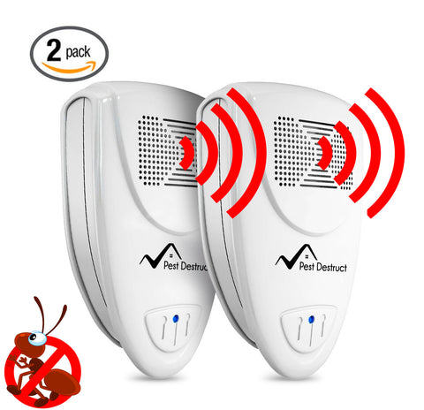 Ultrasonic Ant Repeller - PACK of 2- 100% SAFE for Children and Pets - Get Rid Of Pests In 7 Days Or It's FREE