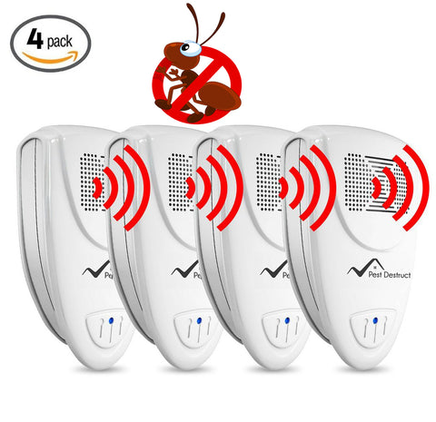 Ultrasonic Ant Repeller - PACK of 4 - 100% SAFE for Children and Pets - Get Rid Of Pests In 7 Days Or It's FREE