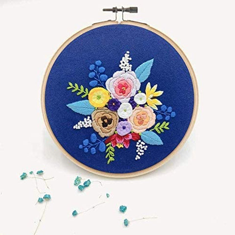 Embroidery Starter Kit with Pattern Flowers Blue