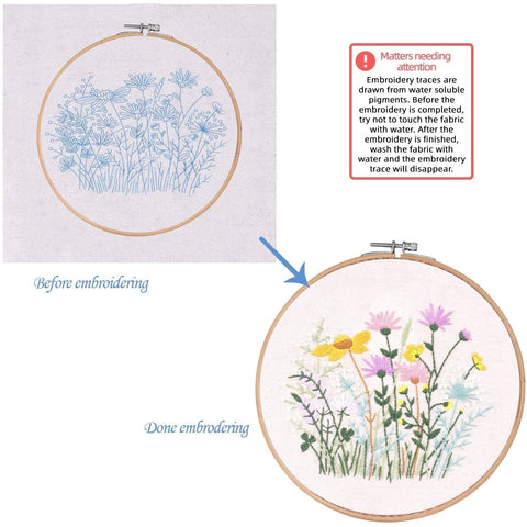 Embroidery Starter Kit with Pattern Flowers Colorful