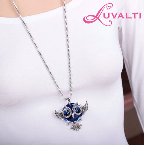 Owl Pendant Necklace for Women - Blue Crystal Pendant Necklace - Fashion Jewelry - 27.5''
