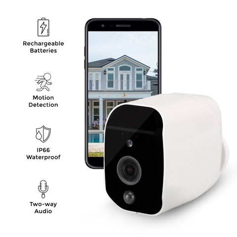 Smart Outdoor Security Camera - Waterproof - Night Vision & Motion Detection - Full HD 1080P - Up to 6 Months Battery Life