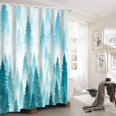 Fabric Shower Curtain Set with Hooks Mint Mountain