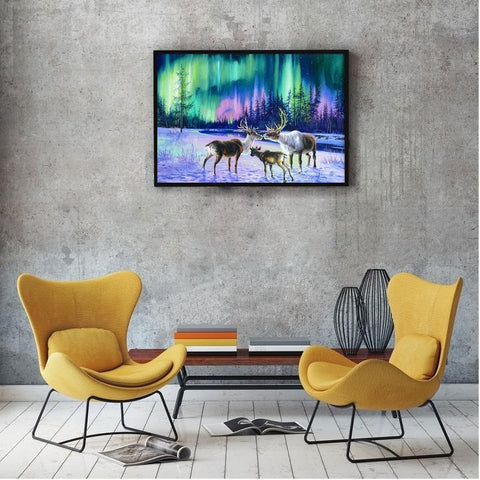 DIY Paint by Numbers Canvas Painting Kit for Kids & Adults - Deers and Northern Lights