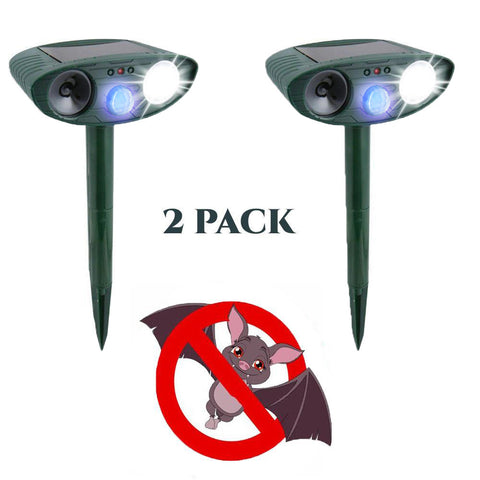 Bat Outdoor Ultrasonic Repeller PACK of 2 - Solar Powered Ultrasonic Animal & Pest Repellant - Get Rid of Bats in 72 Hours or It's FREE