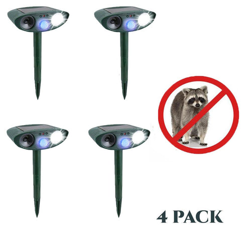 Ultrasonic Raccoon Repeller - PACK of 4 - Solar Powered - Get Rid of Raccoons in 48 Hours or It's FREE - CA