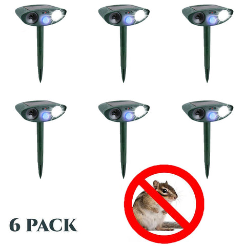 Ultrasonic Chipmunk Repeller - PACK of 6 - Solar Powered - Get Rid of Chipmunks in 48 Hours or It's FREE
