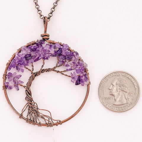 Luvalti Tree of Life - Gemstone Chakra Jewelry Purple Bronze Chain Necklace