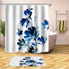 Fabric Shower Curtain Set with Hooks Blue Flowers