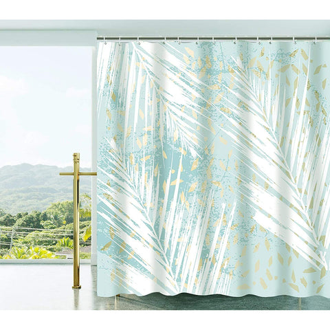 Fabric Shower Curtain Set with Hooks Green Tropical Leaves
