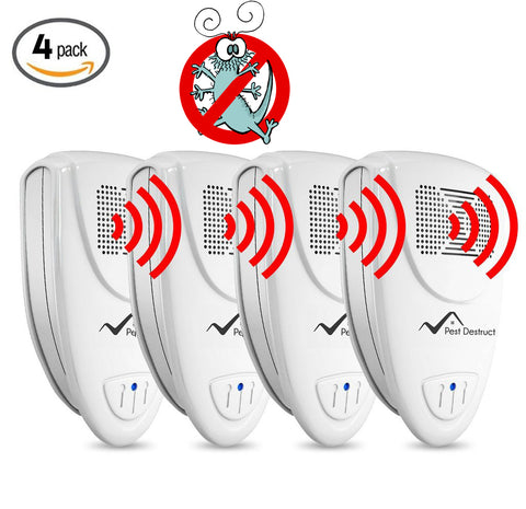 Ultrasonic Silverfish Repeller - PACK of 4 - 100% SAFE for Children and Pets - Get Rid Of Pests In 7 Days Or It's FREE