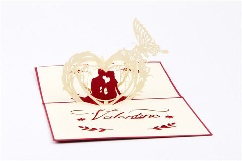 3D Love Pop Up Card and Envelope - Valentine's Day Couple I Love You Heart Card