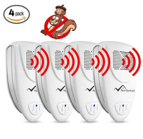 Ultrasonic Squirrel Repeller PACK of 4 - Get Rid Of Squirrels In 72 Hours Or It's FREE
